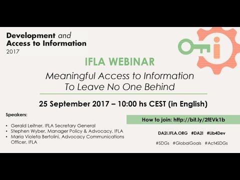 IFLA Webinar: Development and Access to Information (DA2I)
