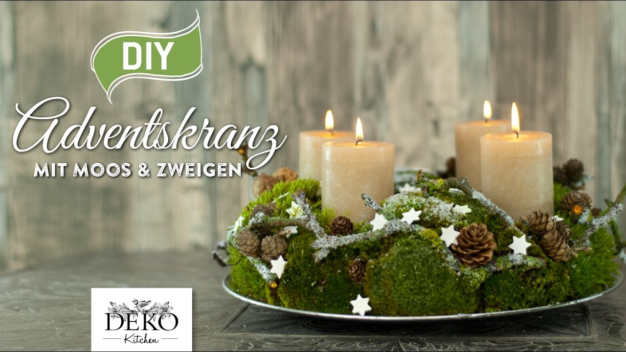 Adventskranz Stumpenkerzen 12 Cm Diy Adventskranz Aus Naturmaterial Mit Moos Zweigen How To Deko Kitchen