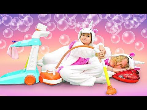 Смешное видео для детей – Единорожка делает уборку! – Игры для девочек одевалки.