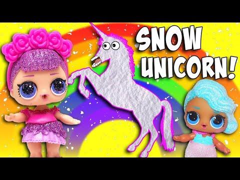 LOL Surprise Dolls Build a Snow Unicorn! Featuring Splash Queen, Sugar Queen, and Lil Snow Bunny!