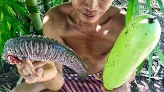 Primitive Culture: Fish in Winter Melon Cooking in Bamboo Farm, a Delicious Food in My Village