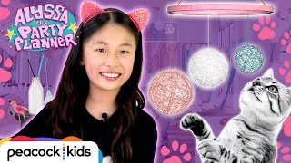 6 Cat-tastic Ideas for a Cat Party! (DIY Yarn Chandelier & More) | ALYSSA THE PARTY PLANNER