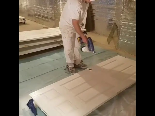 Spraying doors with the Graco and Stakrack combo!