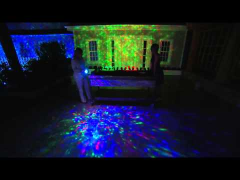 set of 2 indoor outdoor kaleidoscope led lightshow projectors with. Black Bedroom Furniture Sets. Home Design Ideas