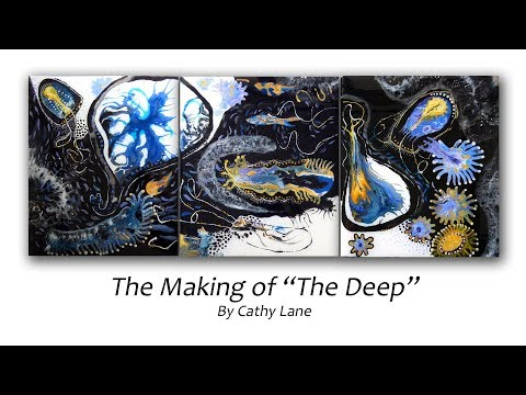 """The making """"Of the Deep""""Acrylic pours, hand work and resin painting"""