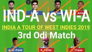 IND A vs WI A Dream11 Team | India-A vs West Indies-A 3rd Odi Match |INDIA A TOUR OF West Indies