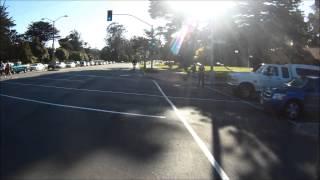 Motorcyclist dangerously lane-splitting bike lane