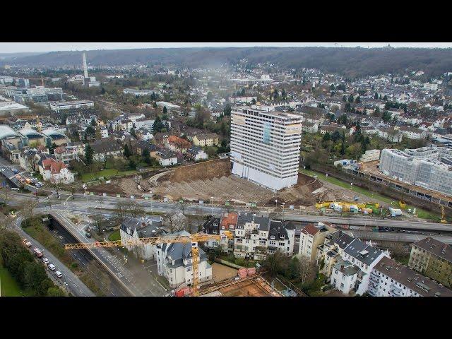 Sprengung des Bonn Center von der Drohne 4k