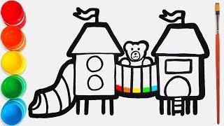 Cara Menggambar dan Mewarnai Taman Bermain Mainan / Video Pe...