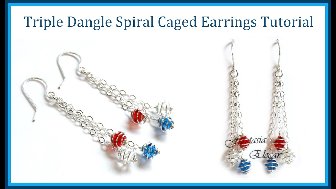 dfcfc1ee3f35e5 Easy Jewelry Tutorial : Dangle Earrings with Spiral Wrapped Crystals -  Caged Bead Style
