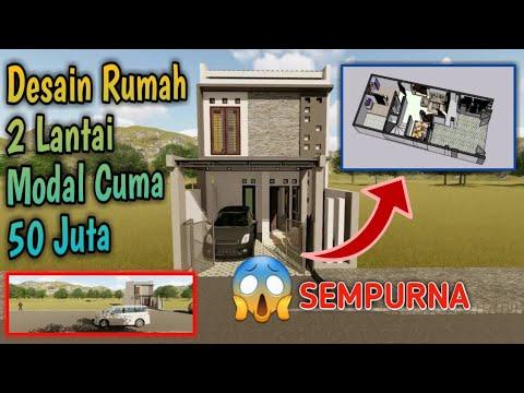 desain rumah minimalis lantai 2 modal 50 jutaan di lahan 5