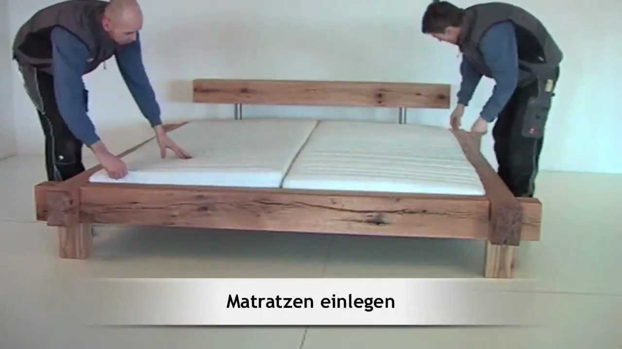 aufbau montage eines massivholzbettes mammut sumpfeiche von m bel eins youtube. Black Bedroom Furniture Sets. Home Design Ideas