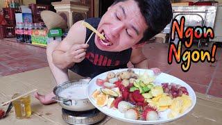 Tới Tài Tử Ăn Lẩu Kem Với Tất Cả Các Loại Hoa Quả ||  Cream hotpot with fruit
