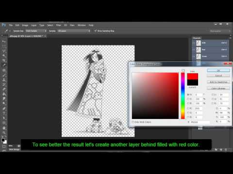 Photoshop Tutorial: Remove Background and make it transparent on drawings or scanned images.