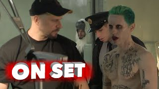 suicide squad behind the scenes movie broll of jared leto the joker