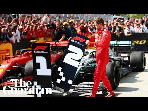 Sebastian Vettel moves No 1 board away from Hamilton's car after losing Canadian GP