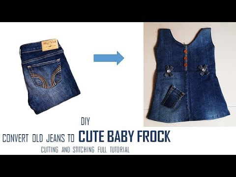 ef0dfc8d47ca DIY Convert Old Jeans to CUTE BABY FROCK cutting and Stitching full ...
