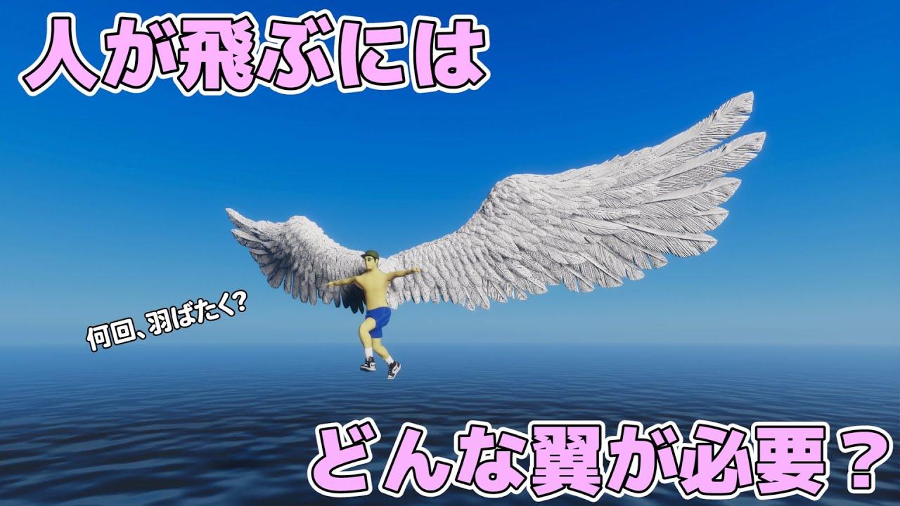 人が飛ぶために、どんな翼が必要か【物理エンジン】