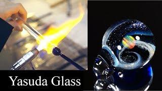宇宙のようなガラス細工の制作風景 【Yasuda Glass】ガラスの小宇宙 オパールペンダント