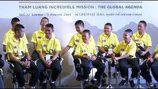 Thai cave boys attend Bangkok exhibition to celebrate their dramatic rescue