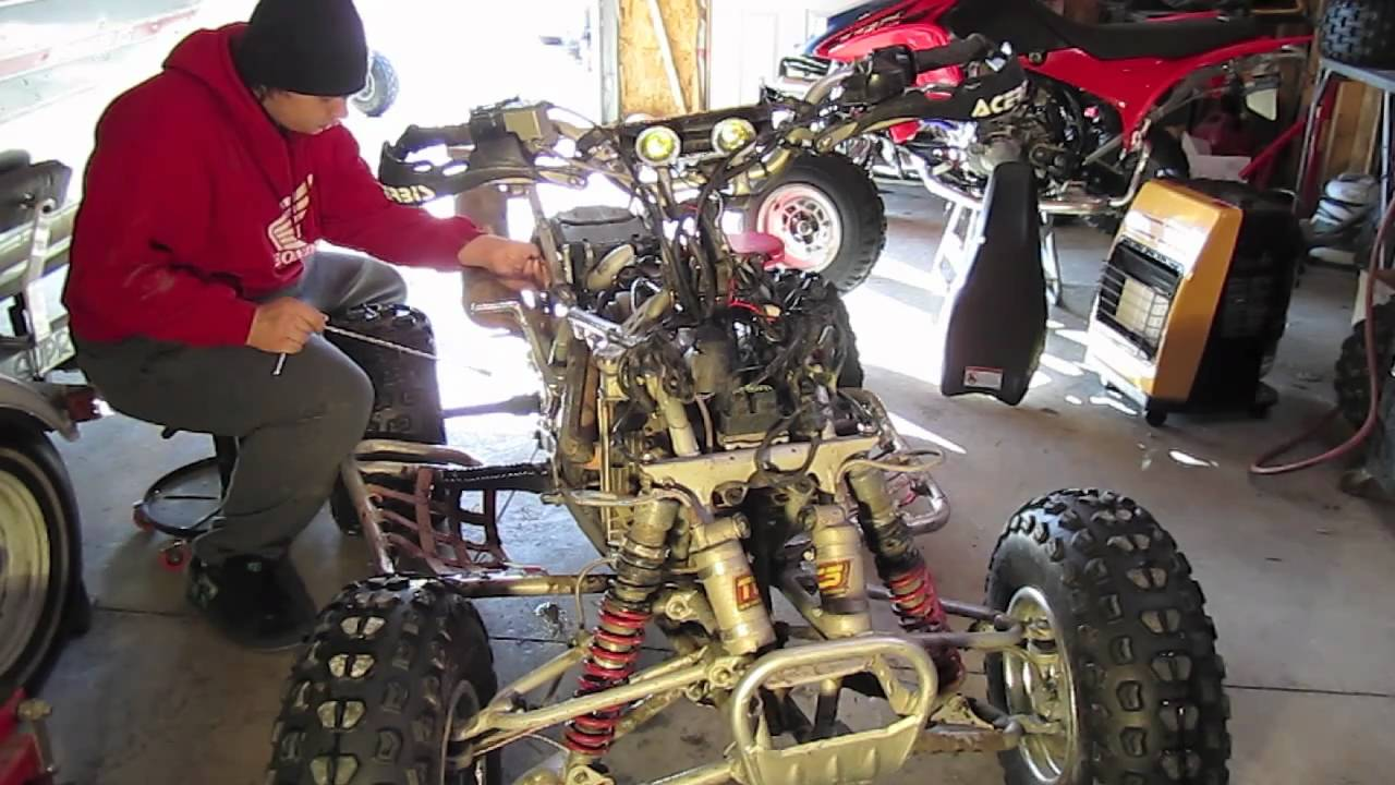 honda trx450 engine removal tutorial part 1  [ 1280 x 720 Pixel ]