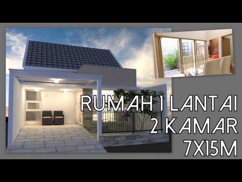Desain Rumah 1 Lantai Dengan 2 Kamar Tidur 7x15m Youtube