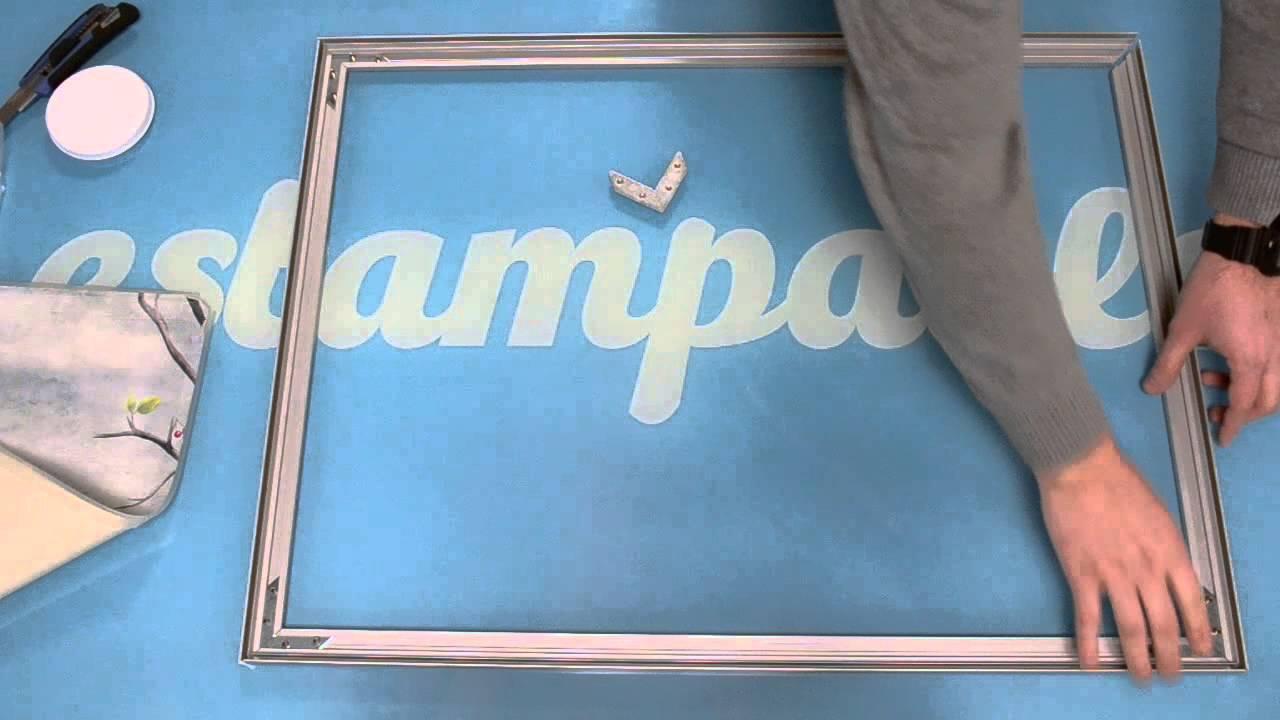 Cómo montar un cuadro con marco de aluminio, lienzo y silicona - YouTube