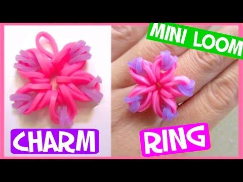 Rainbow Flower Charm/Ring with Mini Loom SUPER EASY