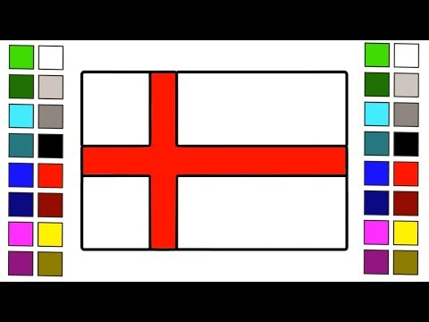 How to Draw British flag || How to Draw England Flag for Kids Step by Step Coloring Learn || Flags