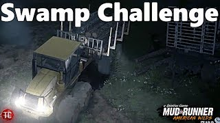 SpinTires MudRunner American Wilds: SWAMP LOGGING CHALLENGE, WE DID IT!!