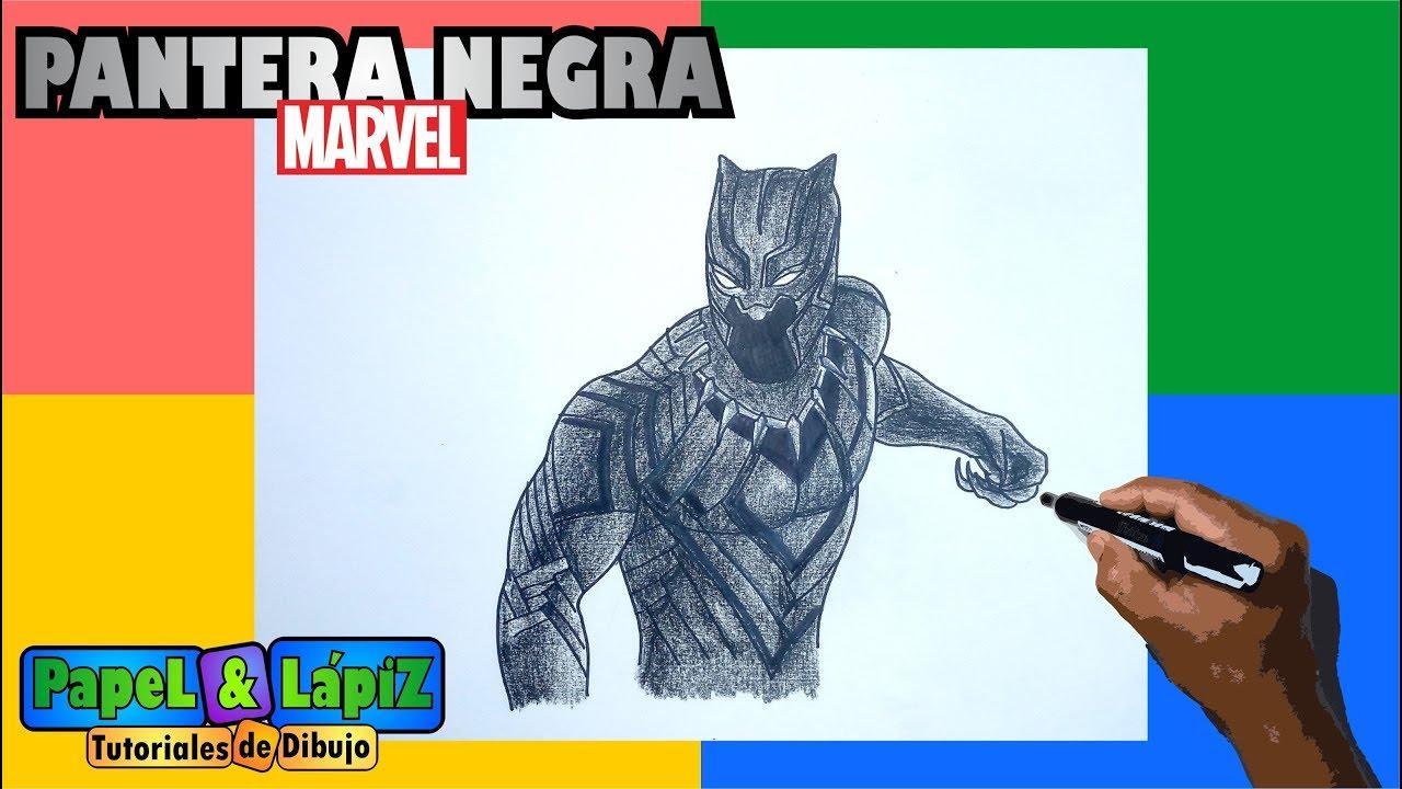 Como Dibujar Y Pintar A Pantera Negra De Marvel Youtube