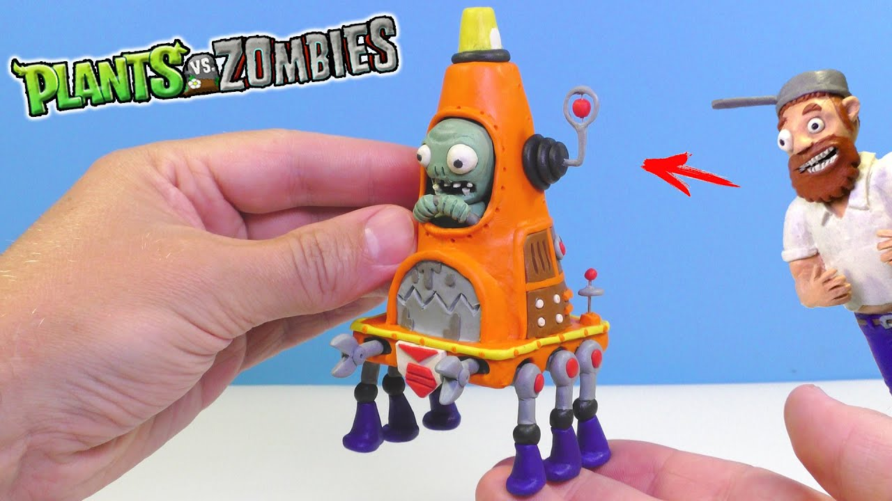 Making ROBO-CONE ZOMBIE with Clay | Plants VS Zombies 2