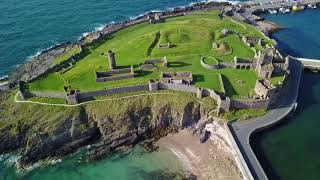 Drone flight over Peel Castle in the Isle Of Man