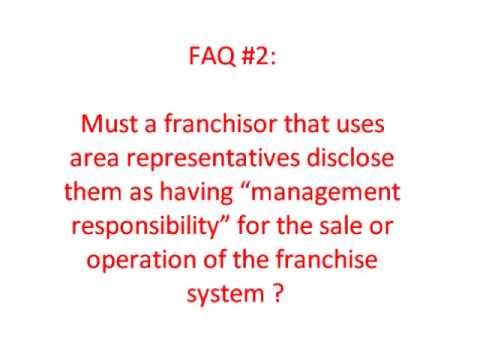 Franchise Area Representatives and Franchise Disclosures
