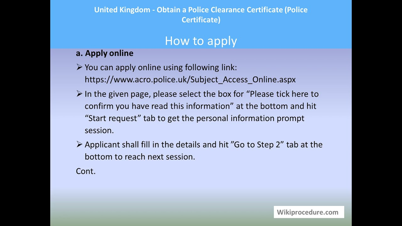 Acro Police Certificate >> United Kingdom Obtain A Police Clearance Certificate