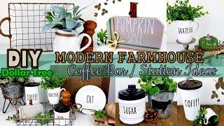 Dollar Tree DIY | Farmhouse Coffee Bar / Station Ideas 2019 / Rae Dunn Inspire