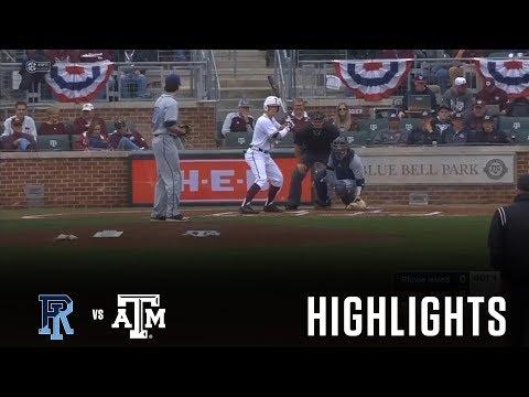 Baseball: Highlights   A&M 4, Rhode Island 3