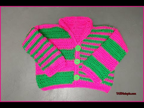 DIY Baby How to Crochet Tutorial: DIY Offbeat Baby Cardigan by YARNutopia