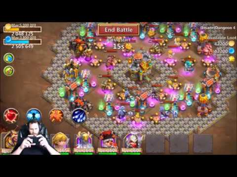 JT's Free 2 Play INSANE 4 Dungeon 2-4 Lil Nick Ownage Castle Clash