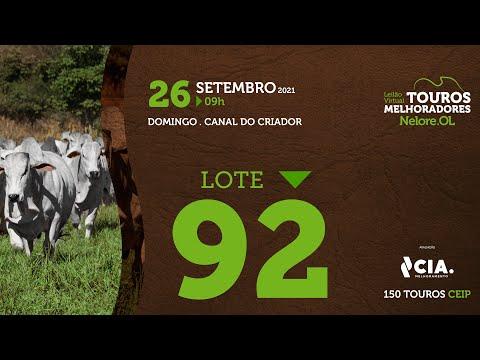 LOTE 92 - LEILÃO VIRTUAL DE TOUROS 2021 NELORE OL - CEIP