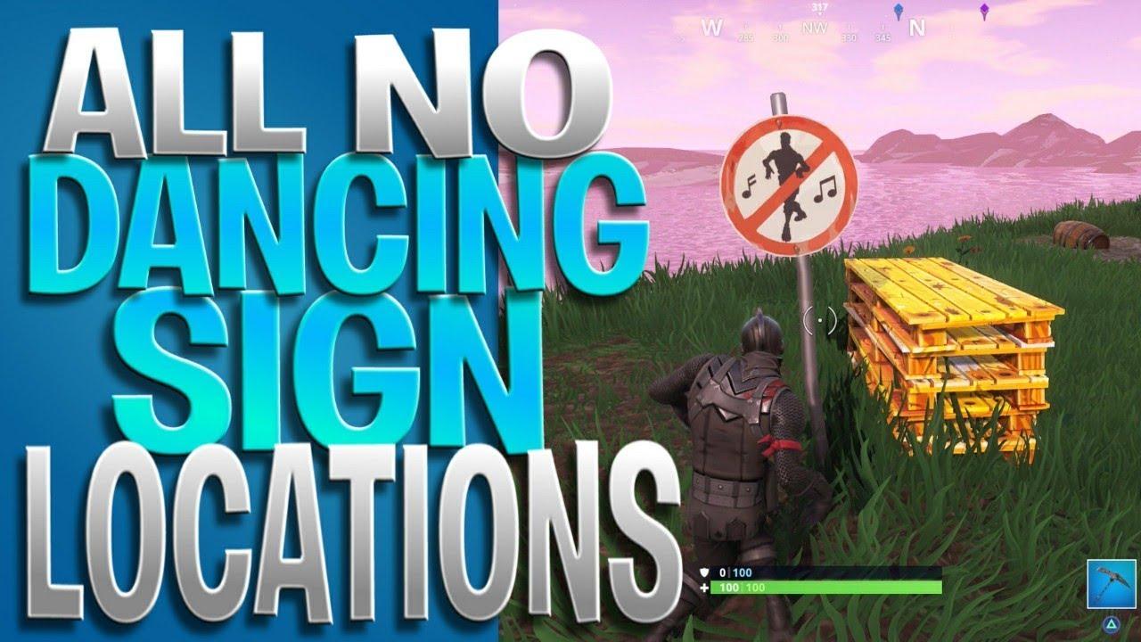 all no dancing sign spots dance in forbidden locations challenge week 2 battle pass challenges - fortnite no dance signs season 7