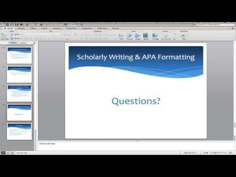 Scholarly Writing and APA Formatting: The Basics