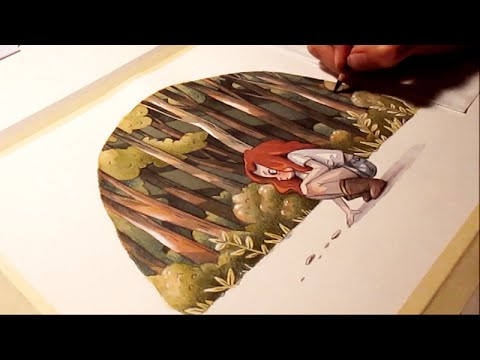 watercolor illustration traces timelapse work in progress painting