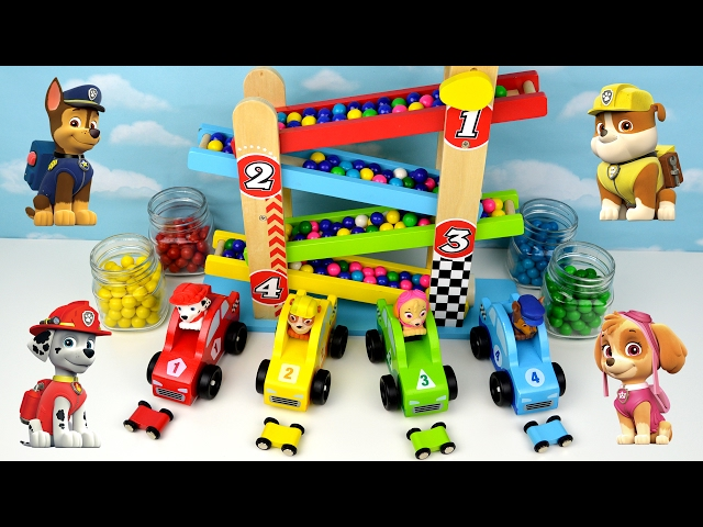 Learning Video Paw Patrol Kids Teach Colors Children Toddler Toy Marble Gumball Maze Ramp Race Cars