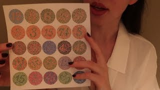 ASMR Eye Exam Roleplay with Color Blindness Test - Soft Spoken