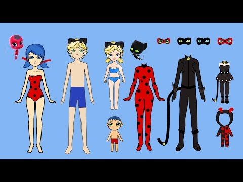 FAMILY DRESS UP LADYBUG & CAT NOIR PAPER DOLLS COSTUMES DRESSES ACCESSORIES PAPERCRAFTS