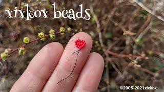 【DIY】xixkox beads シードビーズ17粒で作る小さなハート♥の風船🎈