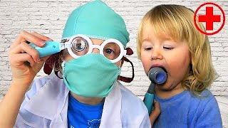 Doctor Baby Melissa Pretend play with Alicia  funny video for  kid