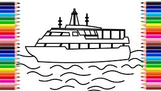 How to draw houseboat step by step | How to draw a ship step by step