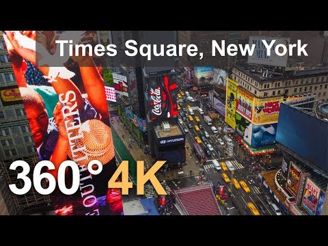 360°, Times Square, New York, USA, 4K aerial video